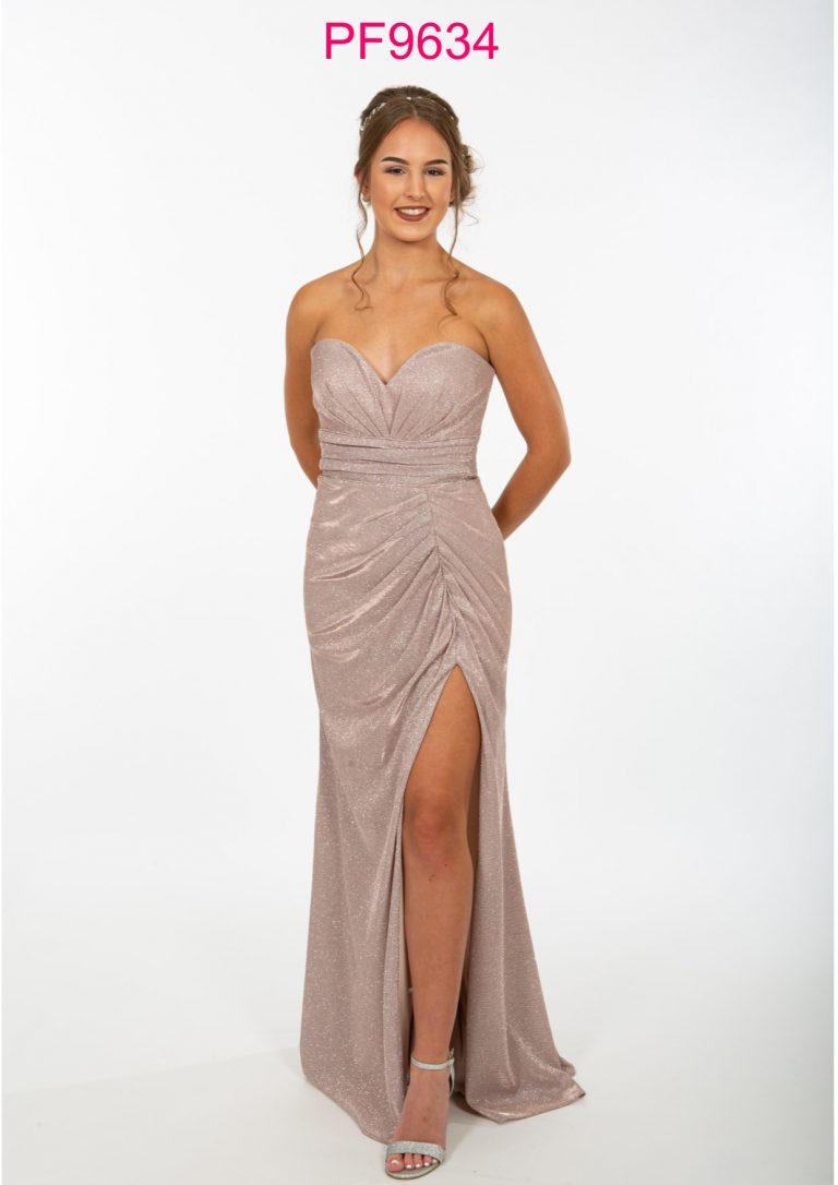 PF9665 Nude Pink Sparkle Prom Dress - Prom Frocks UK Prom