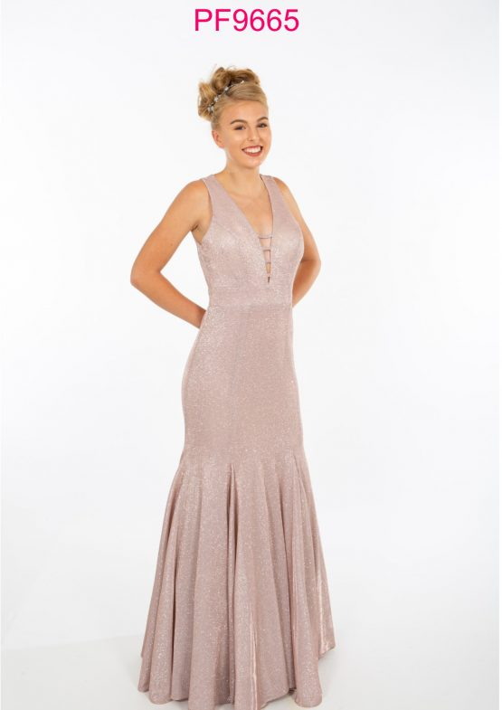 PF9611 Nude Silver Prom/Evening Dress - Prom Frocks UK