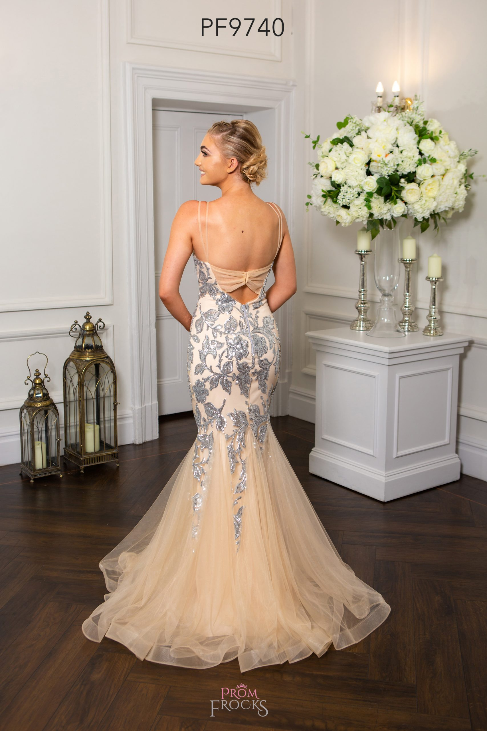 PF9665 Nude Pink Sparkle Prom/Evening Dress - Prom Frocks