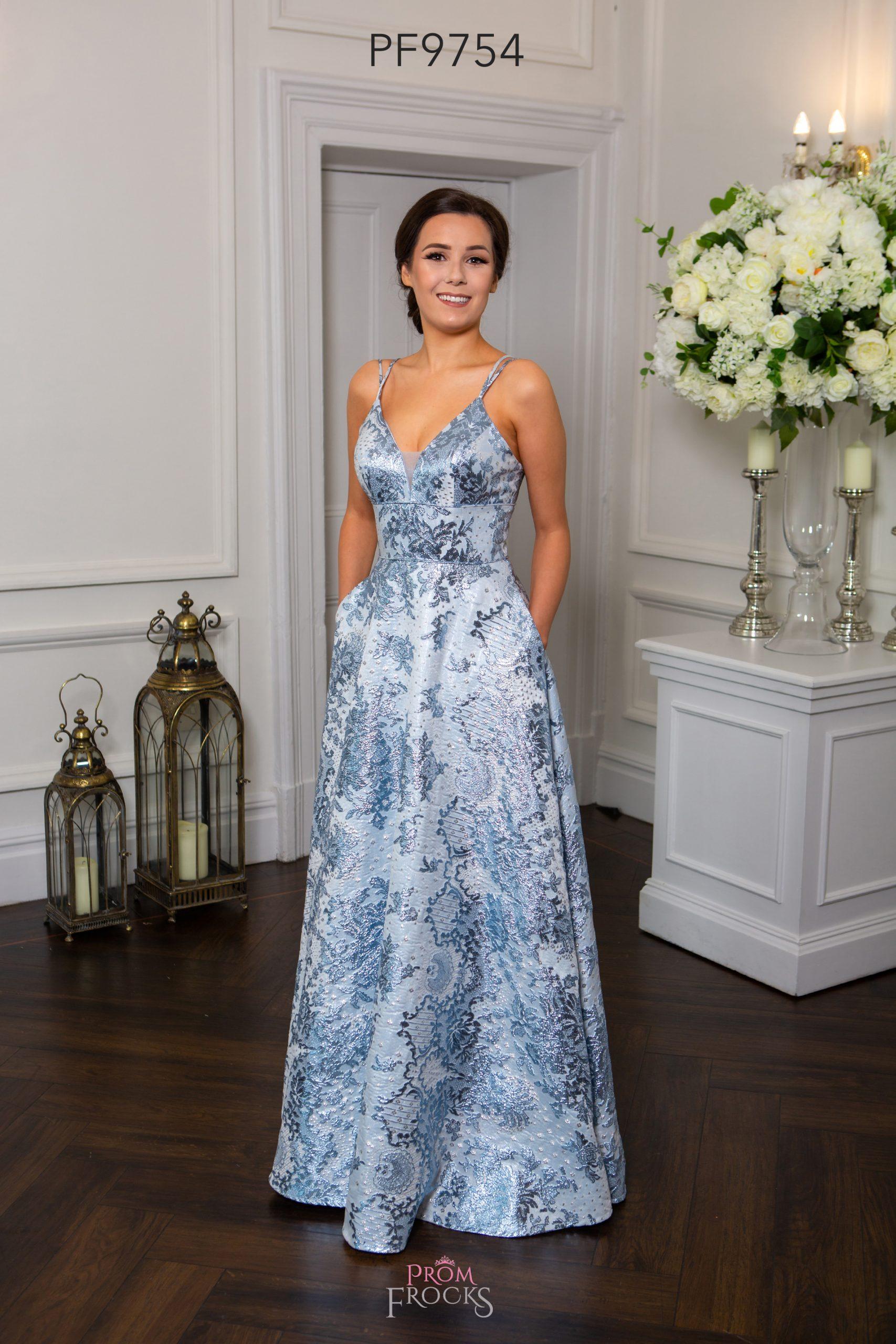 PF9754 ICE BLUE BROCADE PROM/EVENING DRESS - Prom Frocks ...